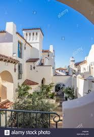 spanish revival style condominium complex in santa barbara stock