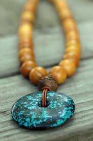 leather bead necklace images Wood bead leather and tribal bohemian turquoise pendant necklace jpg