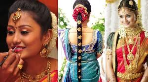 traditional bridal hairstyle south indian bridal saree draping with bridal makeup and bridal