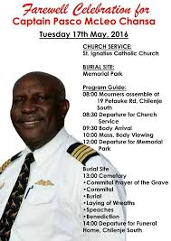 Programs For Funeral Services Pilots Zambia The Funeral Program For Captain Pasco Chansa