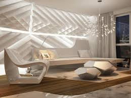 futuristic living room interior with unique wall design with