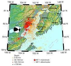 Map Of Seward Alaska by M7 1 Iniskin Earthquake Evolving Content Alaska Earthquake Center