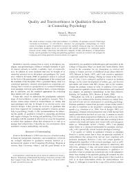 Counseling Psychology Research Articles Quality And Trustworthiness In Qualitative Research In Counseling