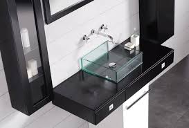 wall mount glass sink bathroom with wall mounted chrome faucet and square glass sink
