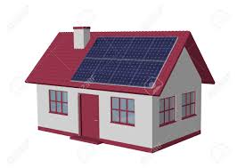 3d render simple house model with solar panels stock photo