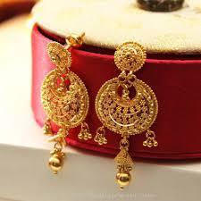 bengali earrings 22k big plain gold earrings south india jewels