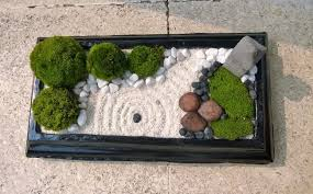 mini zen garden with nature moss ball white sand black u0026 white