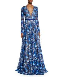 naeem khan long sleeve scalloped lace gown royal blue