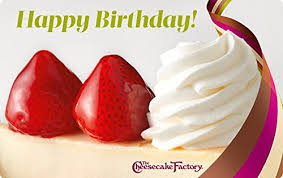 free gift cards by mail the cheesecake factory birthday strawberry cheesecake