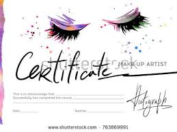 make up artist courses certificate makeup artist image eyelashes shadows stock vector
