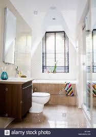 step up to bath below window with black venetian blind in modern