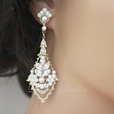 vintage wedding earrings chandeliers deco bridal earring gold wedding earrings rhinestone