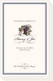 Programs For Wedding Grapes And Vineyard Themed Wedding Programs For Wine Country