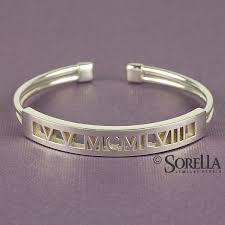 custom silver bracelets handmade numeral pierced cuff bracelet in sterling silver