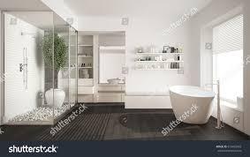 minimalist white scandinavian bathroom walkin closet stock