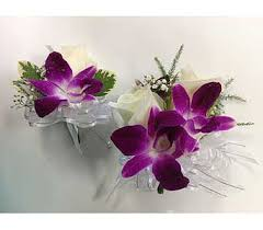 orchid wrist corsage wrist corsage and boutonnieres of white roses and purple orchids