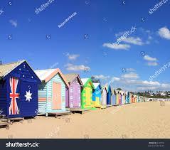 colourful bathing boxes brighton beach melbourne stock photo