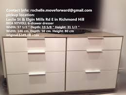 find more ikea nyvoll 6 drawer dresser light gray white for sale