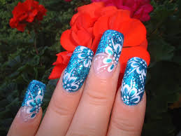 blue glamour flowers nail art archive style nails magazine