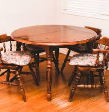 Walnut Dining Room Sets Vintage Walnut Dining Table With Captains Chairs Ebth