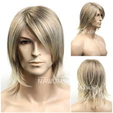 2017 short blonde straight hair wig for men party cosplay