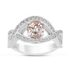 morganite engagement ring white gold carat pink morganite engagement ring 14k white gold bridal