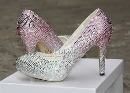 wedding shoes low heel silver customized name high heels silver rhinestone low high heeled