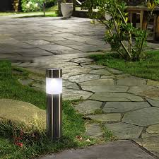 Landscape Bollard Lights 6pcs Lot Solar Outdoor Garden Path Lawn Light Stainless Steel