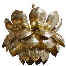 Lotus Chandelier Large Brass Lotus Chandelier Or Pendant At 1stdibs