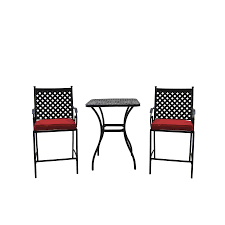 Black Patio Dining Set - shop garden treasures yorkford yorkford 3 piece black steel dining
