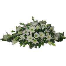 floral spray marbella white casket floral spray flower delivery 50cm