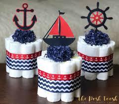red navy nautical diaper cake baby shower centerpiece baby