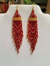 Ruby Red Long Brick Stitch 489 Best Earrings I Have Made Images On Pinterest Native