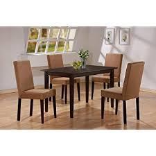 amazon com 5pc cappuccino finish dining table u0026 4 microfiber