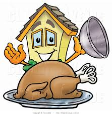 avenue clipart of a yellow house mascot character serving a