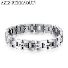 name link bracelet images Aziz bekkaoui magnetic bracelet men titanium steel bangle 21 23cm jpg