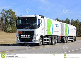 volvo transport white volvo fh fuel tanker of neste road transport editorial