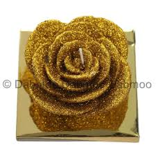Glitter Home Decor New Hand Made Beautiful Glitter Rose Bud Shaped Decorative Candle