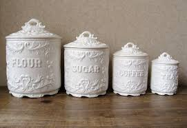 fioritura ceramic kitchen canister set vintage canister set antique white with ornate details vintage