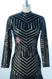 geometric pattern black sequin long sleeve high neck fit and flare