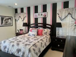 Red White And Black Bedroom - bedrooms small bedroom with red striped wall and monochrome bed