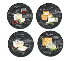 assiette imitation ardoise 4 assiettes à fromage designs différents dans emballage cadeau ø