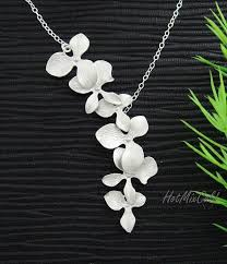 flower necklace wedding images Trio orchid flower necklace dainty sterling silver necklace jpg