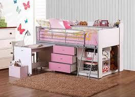 Bunk Bed With Storage And Desk Pink Storage Loft Bed With Desk Modern Storage Bed Design