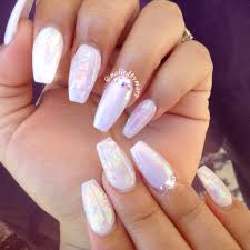 white hologram fairy dust coffinnails acrylic cute nails nailed