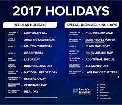 seven weekends list of holidays for 2017 according to