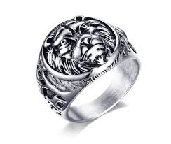Mens Personalized Jewelry Online Shop 2017 Anillos Punk Style 18mm Stainless Steel Lion Head
