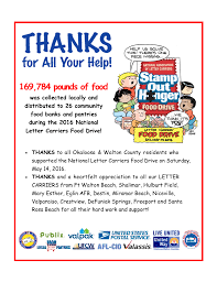 letter carrier food drive united way of okaloosa and walton counties
