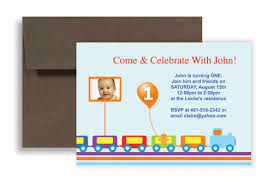 train track photo one year birthday invitation design 7x5 in