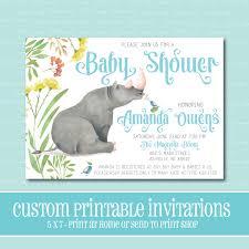 custom baby shower invitation rhino baby shower invitation